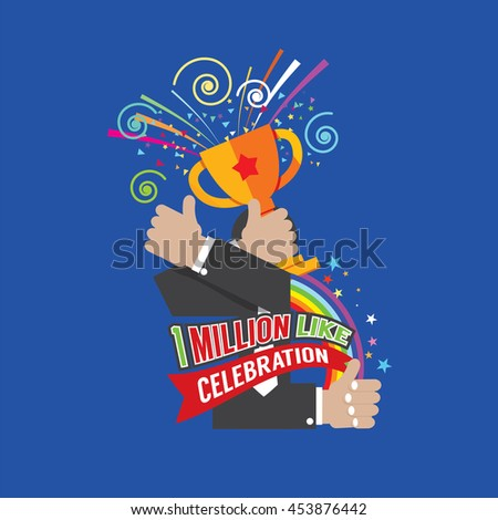 1 Million Likes Celebration Vector Illustration