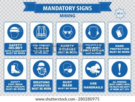 Mining Mandatory Sign Safety Helmet Flashlight Stock