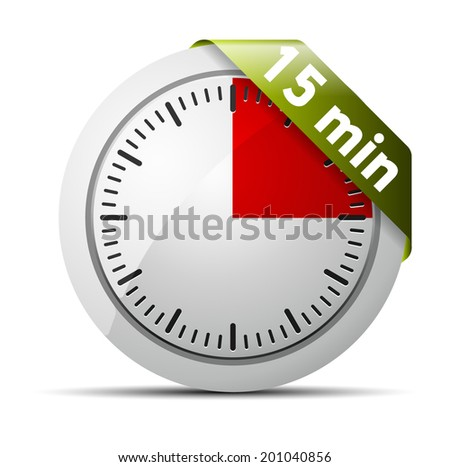 15 Minutes timer - stock vector