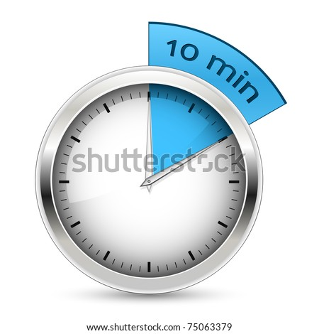 10 minutes timer. Office clock with blue 10 min segment - stock vector
