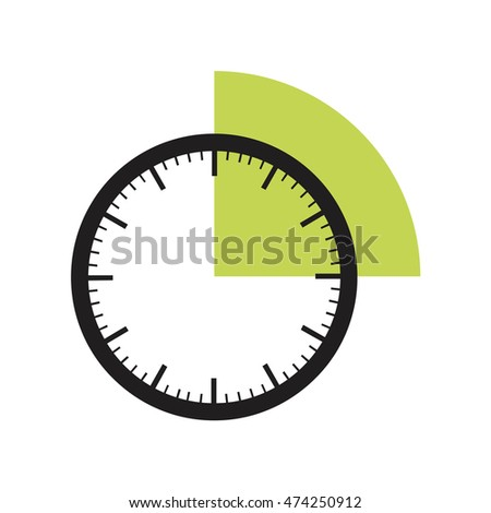 15 minutes timer office clock green stock vector 474250912