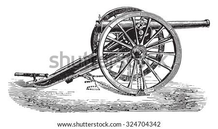 90mm field gun, 1877 model, vintage engraved illustration. Industrial encyclopedia E.-O. Lami - 1875. - stock vector