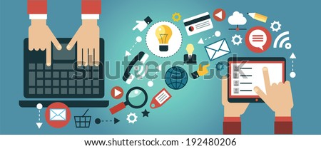 Mobile apps concept. Flat design vector illustration. Human hand with tablet, laptop and interface icons - stock vector