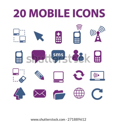 20 mobile, communication, connection icons, signs, illustrations set, vector