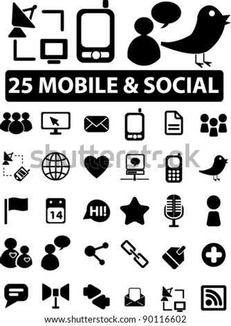 25 mobile & social icons set, vector illustrations - stock vector