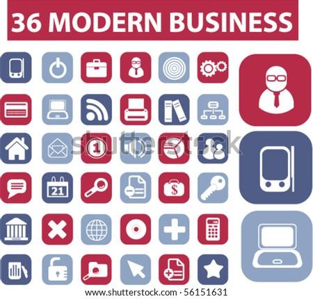 36 modern business buttons. vector - stock vector