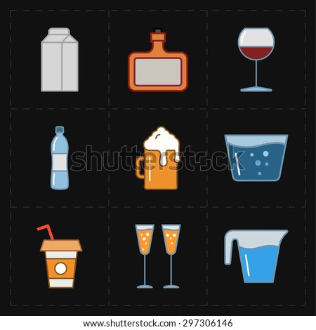 9 modern flat bar icons - stock vector