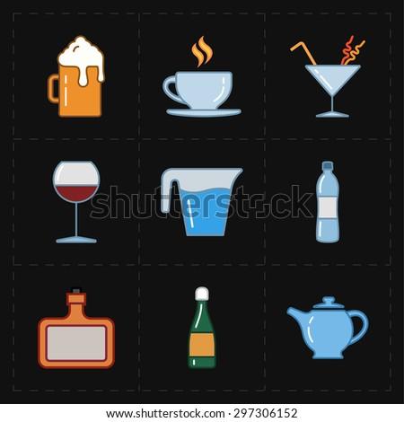9 modern flat bar icons - stock vector