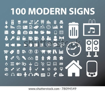 100 modern office signs, vector - stock vector