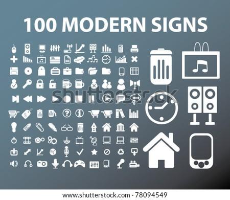 100 modern office signs, vector - stock vector