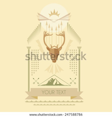 Modern vintage label illustration of a Royal deer head vector - stock vector