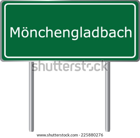 Monchengladbach , Germany , road sign green vector illustration, road table - stock vector