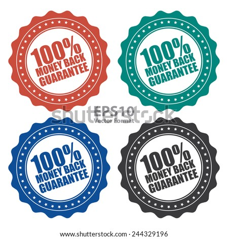 100% money back guarantee icon, tag, label, badge, sign, sticker isolated on white, vector format - stock vector