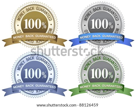 100% Money Back Guaranteed Signs - stock vector