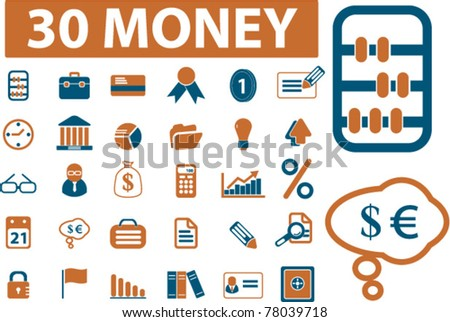 30 money icons, signs, vector illustrations - stock vector