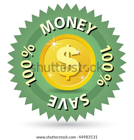 100 % money save label vector sign - stock vector