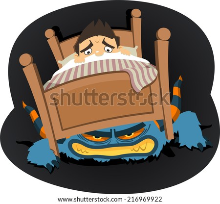 Monster under the bed vector cartoon illustration - stock vector