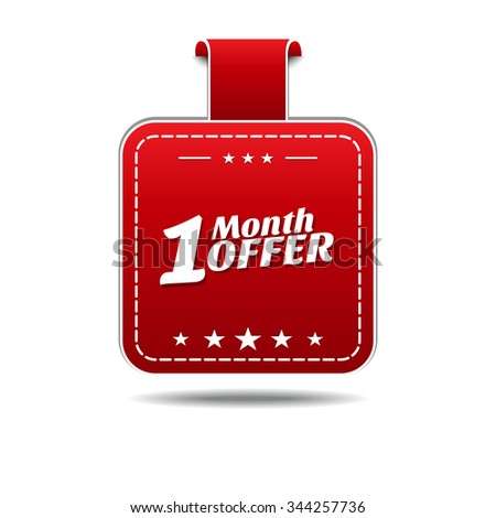 1 Month Offer Red Vector Icon Design