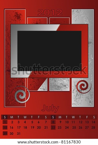 2012 monthly calendar A3 photo frame for your photos vector for print July - stock vector