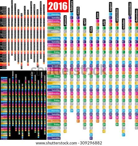 2016 monthly calendar template, simple calendar - stock vector