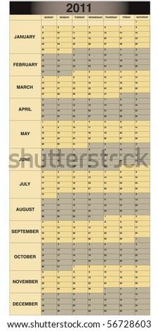 2011 Monthly Scheduling calendar - stock vector