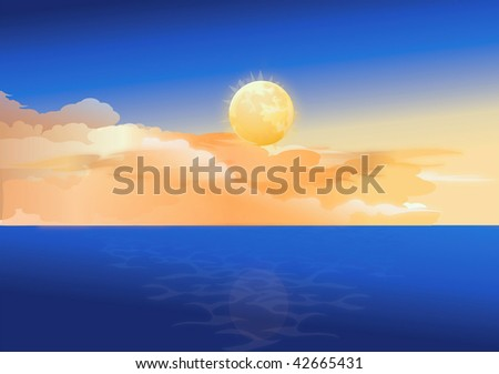 moon and tropical sea vector - stock vector