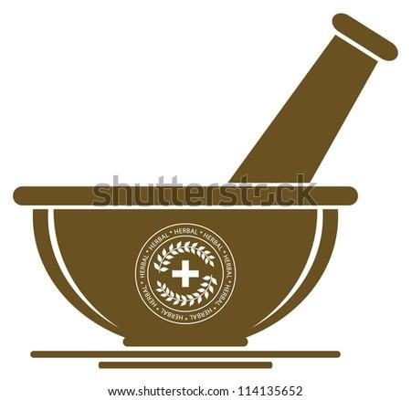 Mortar & Pestle Sign - Herbal Medicine Concept - stock vector