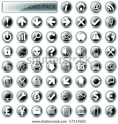 60 most popular web icons in one mega pack, dark version - stock vector