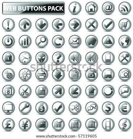 60 most popular web icons in one mega pack, light version - stock vector