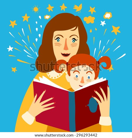 Mother and child reading big book. Vector cartoon illustration about family. - stock vector