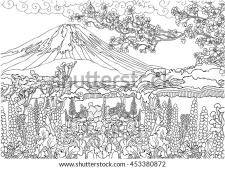 Mountain Japan Fujiyama Landscape Coloring Pages Stock Vector HD