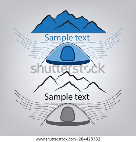 Mountain range, set icon - stock vector