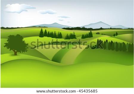 Mountain spring landscape - stock vector