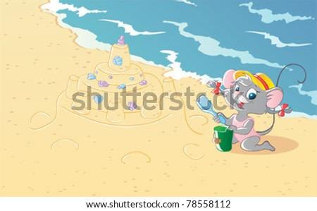 Mouse girl - stock vector
