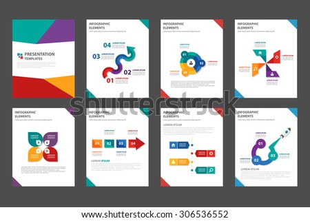 8 multicolor multipurpose presentation template flat design set for brochure flyer marketing and advertising 1 - stock vector