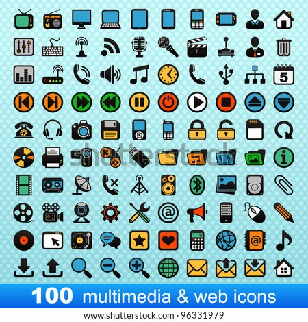 100 multimedia and web icons