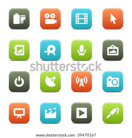 16 multimedia icons for your website or software. The vector file includes each icon in four different colors.