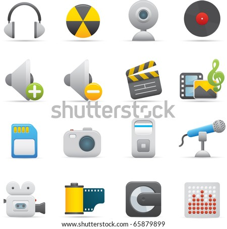 08 Multimedia Icons Professional vector set for your website, application, or presentation. The graphics can easily be edited color individually and be scaled to any size - stock vector