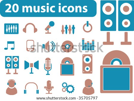 20 music icons. vector - stock vector
