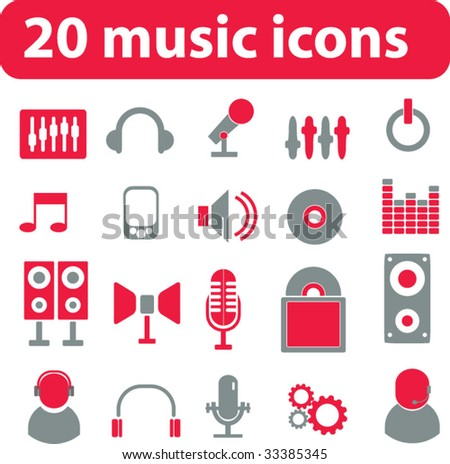 20 music icons. vector. red - stock vector