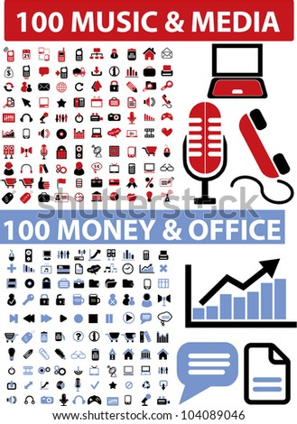 200 music & media & money & office icons set, vector - stock vector