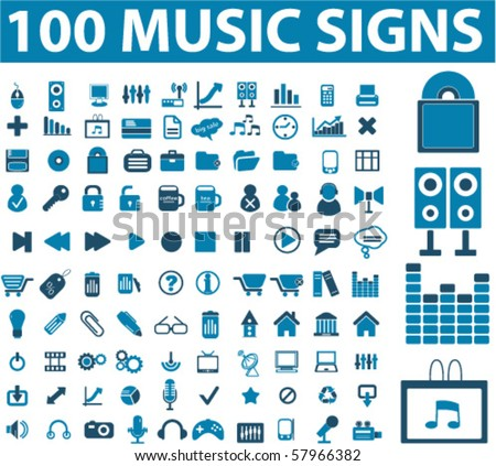 100 music signs. vector