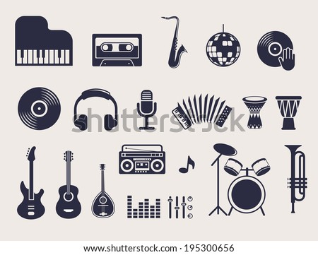 musical instruments, vector illustrations flat icons and elements set - stock vector