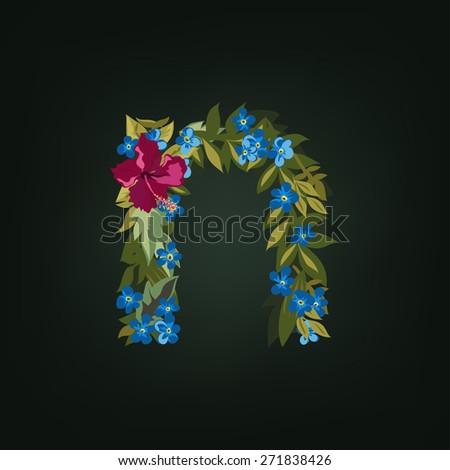 N letter. Flower  alphabet. Colorful font. Lowercase.  Vector illustration. - stock vector