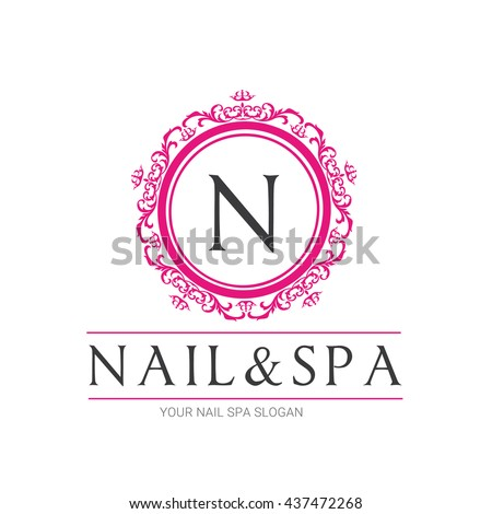 nail beauty spa logo nail logo stock vector 437472268