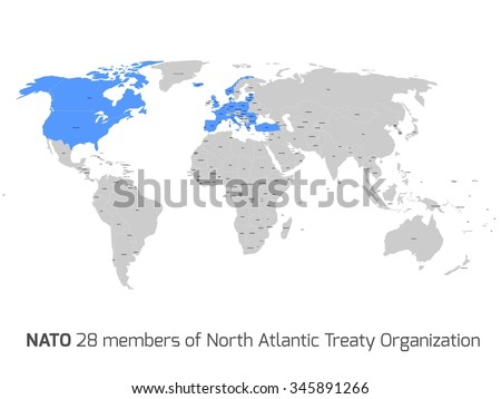 28 NATO member countries highlighted by blue in blank world political map.