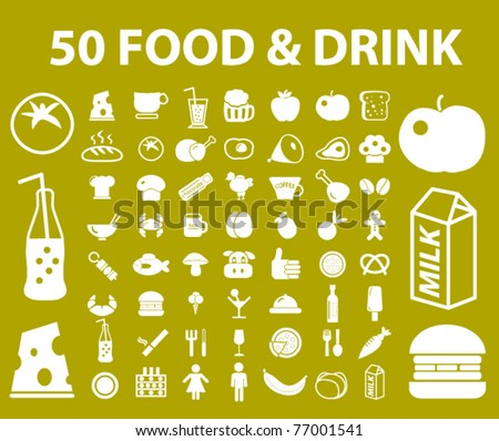 50 natural food & drink icons, signs, vector illustrations - stock vector