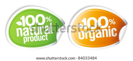 100% natural product, 100% organic stickers set. - stock vector