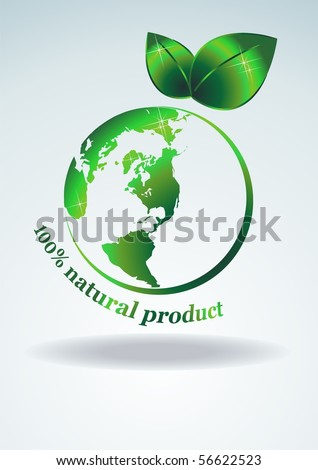 100% natural product. The symbol of a green planet. Vector illustration - stock vector