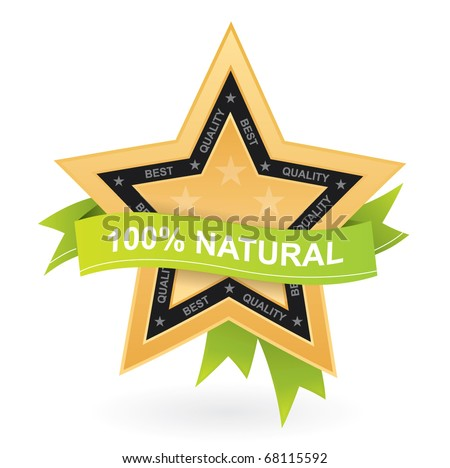 100% natural promotional sign - vector gold star with green ribbon - stock vector